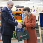 Princess Anne visits Zatchels, the Leicestershire bag manufacturer and unveils a plaque to commemorate her visit.