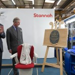 Prince Charles unveils plaque to mark the production of the 500,000th stair lift at Stannah.