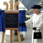 The Queen unveils plaque to celebrate 20th anniversary of Channel Tunnel opening and launch.