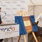 Princess Anne unveils plaque tolaunch Leeds MND Wheelchair Service at Seacroft Hospital.