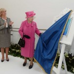 The Queen unveils plaque mounted on our shabby chic display easel at Birmingham dental hospital.