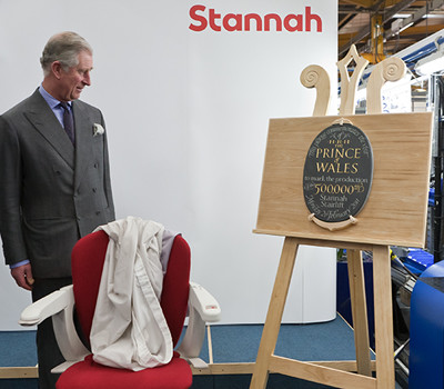 HRH the Prince of Wales marks the production of Stannah's 500,000 stairlift. Plaque unveiled using our classic display easel.