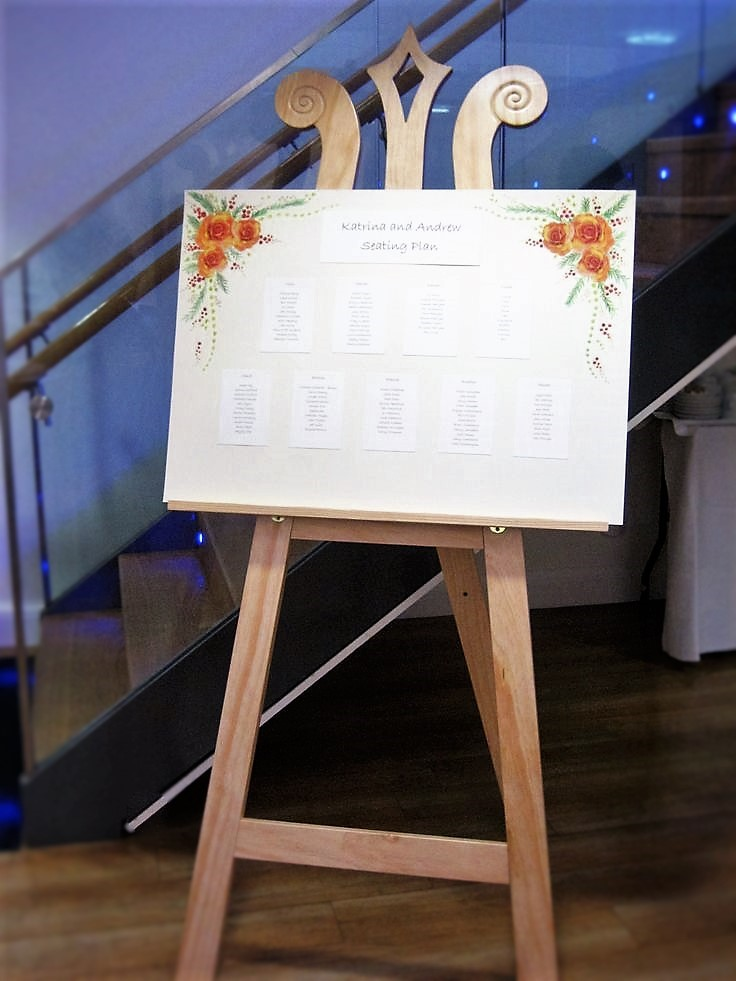 Our Classic Display Easel used here as a Wedding Easel to display a Seating Plan