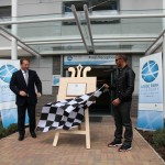 Plaque unveilng by Lewis Hamilton MBE to officially open Lodge Park Academy.