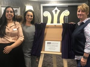 Flavia Cacace-Mistry unveils plaque to commemorate the opening of Ideal Carehomes Woodthorpe Lodge Home.