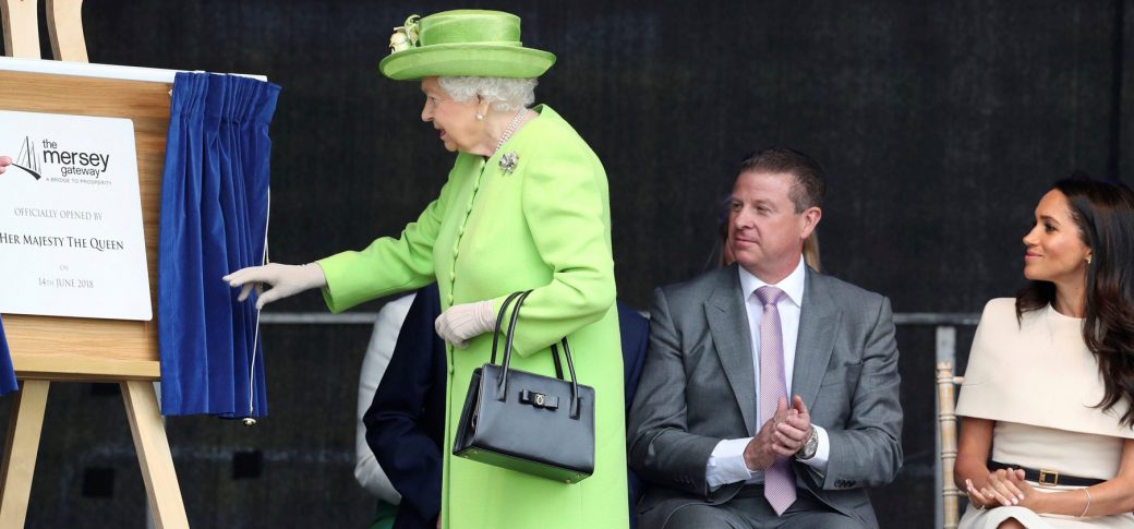 Plaque Unveiling by the Queen to commemorate the official opening of the Mersey Gateway, Chester