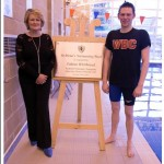 Plaque unveiling by Fabian Whitbread to re-open St Pirian's school swimming pool.