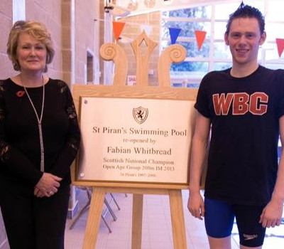 St Pirian's School swimming pool re-opened by Fabian Whitbread. Plaque unveiled using our classic display easel and unveiling drape.